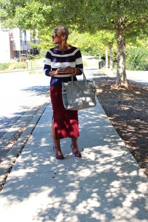 hot pink Nine West shoes - ruby red StyleWe skirt - blue StyleWe top