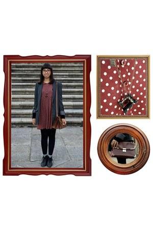 ankle boots Zara boots - polka dot Zara dress - Stradivarius blazer