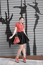 red balloon Zara bag - black Zara skirt - red military Zara cardigan