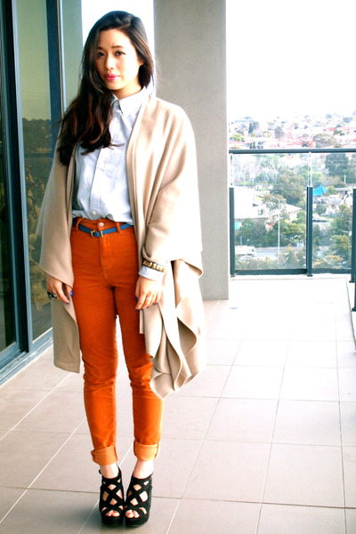 Uniqlo shirt - vintage cape - Gorman pants - tony bianco wedges