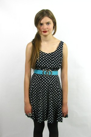 black vintage 90s polka dot dress - black Urban Outfitters tights - turquoise bl