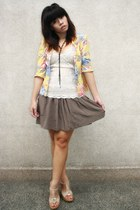 yellow Archive Clothing jacket - cream blouse - light brown Forever 21 skirt