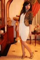 beige dress - brown H&M jacket - gold michael antonio heels