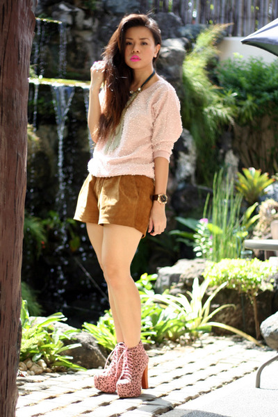 pink Jeffrey Campbell boots - brown Forever 21 shorts