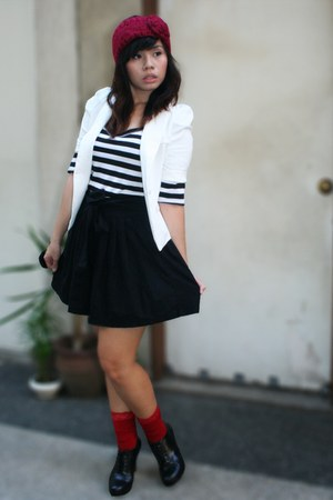white SM Dept Store blazer - black top - black skirt - red socks