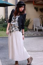hat - blazer - top - Archive Clothing skirt - H&M wedges