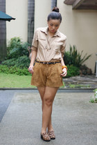light brown Forever21 shorts - tan random top - light brown CMG loafers