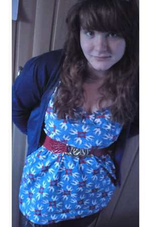 blue Primark cardigan - blue Topshop dress - black George At Asda leggings - red