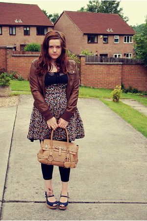 brown new look jacket - blue new look shoes - black Boohoo dress