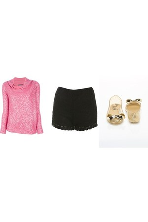 glitter donna karan sweater - lace Miss Selfridge shorts - bow transparent flats