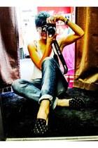 blue boyfriend Zara jeans - black studded Funky Elegance loafers