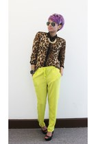 brown romwe blouse - lime green romwe pants - black Quipid wedges