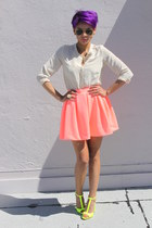 yellow Zara sandals - coral Zara skirt - cream urbanoutfitters top