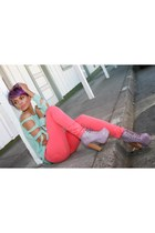 bubble gum Funky Elegance boots - salmon Funky Elegance pants