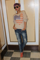 urbanoutfitters sweater - jefferey campbell boots - Zara jeans