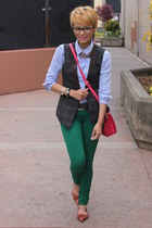 dark brown Nine West flats - light blue H&M shirt - hot pink Zara bag