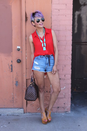 red random brand shirt - navy Levis shorts - tawny jefferey campbell heels