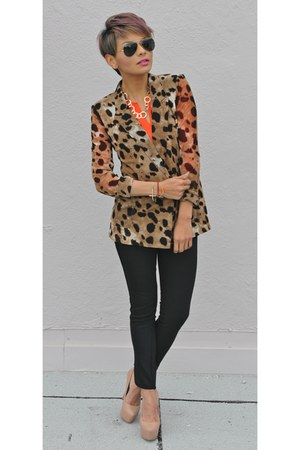 brown Funky Elegance blazer - carrot orange H&M top - ivory Steve Madden pumps