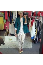 cream Funky Elegance pants - ivory Zara shoes - dark green Zara blazer