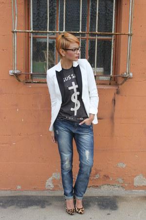 charcoal gray UNIF t-shirt - navy boyfriend jeans Zara jeans