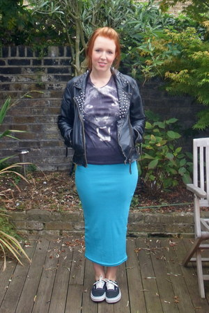 black leather All Saints jacket - turquoise blue Yes Style skirt