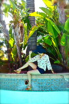 vintage from Buffalo Exchange blouse - ambiance apparel shorts - H&M hat - Louis