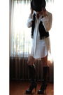 Black-forever21-vest-white-my-story-dress-brown-ysl-boots-black-agaci-hat-
