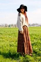 Forever 21 hat - ebay sweater - thriftedfted skirt - Jessica Simpson heels