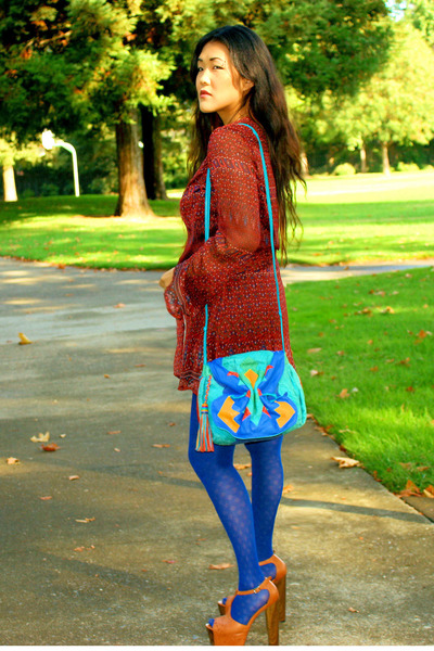 Converse blouse - Forever 21 tights - Jessica Simpson shoes - bag