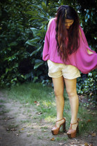 fuschia asian icandy blouse - tan platforms Jessica Simpson shoes