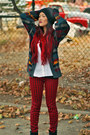 Vintage-cardigan-dolce-vita-boots-ombre-beanie-volcom-hat-forever-21-shirt