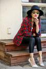 Nastygal-hat-tartan-vintage-pendleton-blazer-thrifted-shirt-zara-heels