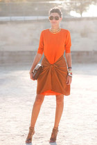 orange dress - camel bag - camel heels