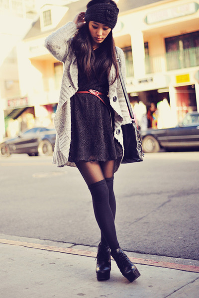 beige cardigan - dark gray dress - red belt