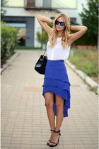 blue skirt - black bag - white top