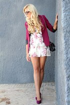 maroon cardigan - ivory dress - black bag - maroon heels