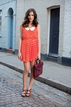 carrot orange dress - tawny bag - dark brown heels