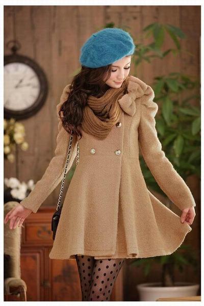 beige jacket - turquoise blue hat - light brown scarf - black bag - black socks
