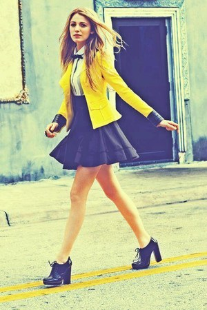 yellow jacket - white top - black skirt - black heels