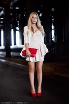 red bag - ivory dress - ivory jacket - red heels