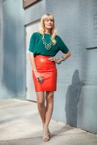 teal top - carrot orange skirt - tan heels