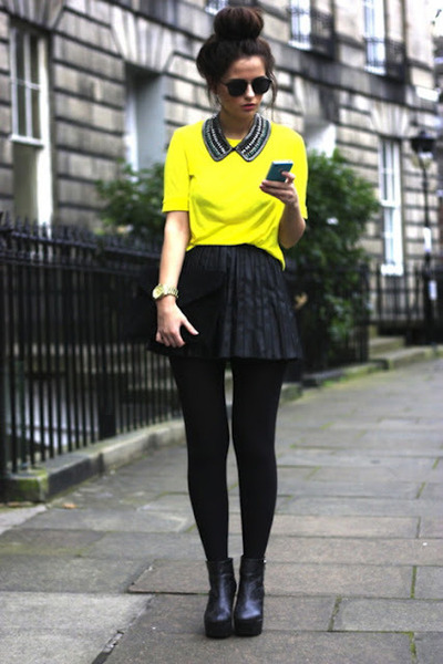 Yellow Tops Black Skirts | u0026quot;i love loveu0026quot; by benquull | Chictopia