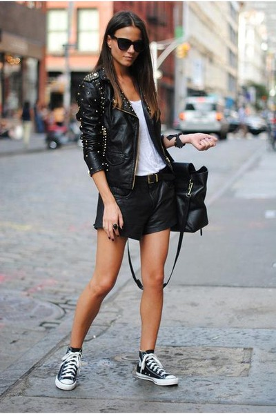 jacket - black bag - shorts - sneakers - ivory t-shirt