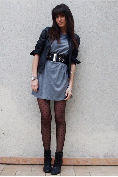 silver Zara dress - black Naf Naf jacket - black H&M belt - black UO boots