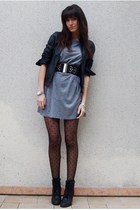 silver Zara dress - black Naf Naf jacket - black H&M belt - black UO boots