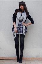 black Zara blazer - black Zara jeans - Zara shirt - beige Zara scarf - black UO