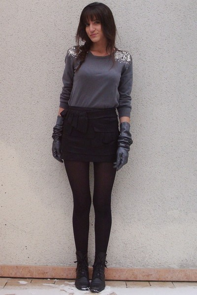 black Topshop skirt - silver H&M sweater - gray Agnelle gloves