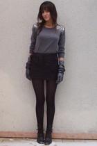 black Topshop skirt - silver H&M sweater - gray Agnelle gloves