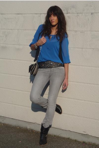 H&M blouse - LTB jeans - vintage vest - vintage boots - Zara accessories - Paris
