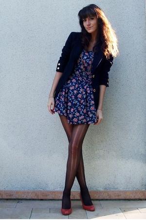 blue vintage dress - blue Celine Vintage blazer - black tights - red new look sh